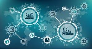 Industrie 4 0 / slim fabriek/digitaliseringsconcept: procesautomatisering en gegevensuitwisseling tussen de productie van bedrijv stock illustratie