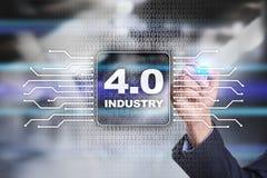 Industrie 4 Slim productieconcept Industriële 4 0 procesinfrastructuur stock foto's