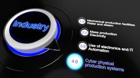 Industrie 1 0 tot 4 0 conceptenillustratie Stock Foto's