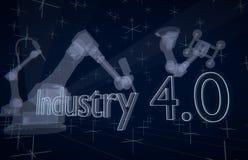 Industrie 4 transparente Roboter 0 stock abbildung
