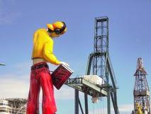 Industrie trifft Funfairzahl am industriellen Hafen lizenzfreie stockbilder