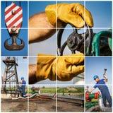 Industrie van de olie en van het Gas industrieel De collage van de productiefoto royalty-vrije stock foto