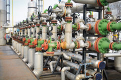 Industrie van olieraffinage en gas Stock Foto