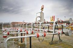 Industrie van olieraffinage en gas Stock Foto's