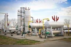 Industrie van olieraffinage en gas, Stock Afbeelding