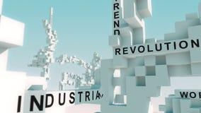 Industrie 4 0 woorden die met kubussen worden geanimeerd vector illustratie