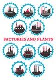 Industrieanlage- und Fabrikikonen Stockfotos