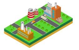 Industriebautenfabriken und -kessel in der Perspektive Stockfotografie