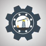 Industriedesign-, -betriebs- und -fabrikkonzept, editable Vektor Lizenzfreie Stockfotografie