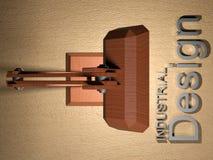 Industriedesign mit hölzerner Schreibtischlampe - Wiedergabe 3D Lizenzfreies Stockbild