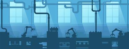 Industrieel binnenland van fabriek, installatie De onderneming van de silhouetindustrie De productie van 4 stock illustratie