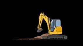 Industrieel Graafwerktuig Digging Hole Animatie met alpha- kanaal stock illustratie