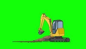 Industrieel Graafwerktuig Digging Hole Isolated op het Groene Scherm royalty-vrije illustratie