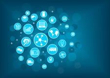 Industrieel Internet van dingen (IIOT) concept Vectorillustratie van pictogrammen royalty-vrije illustratie