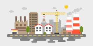 Industrieel landgoed, de mening van het fabriekslandschap in vlakke ontwerpverontreiniging royalty-vrije illustratie