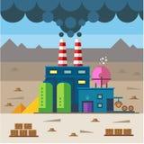 Industrieel landschap Fabriek en bouw royalty-vrije illustratie