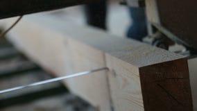 Industrieel lintzaag scherp hout in planken stock videobeelden
