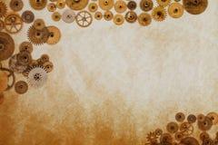 Industrieel machinesmalplaatje, radertjestoestellen op oud geweven document manuscript Uitstekend het document van het Steampunko royalty-vrije stock afbeeldingen