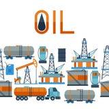 Industrieel naadloos patroon met olie en benzine Royalty-vrije Stock Afbeelding
