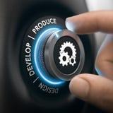 Industrieel Proces, van Ontwerp aan Productie Stock Afbeeldingen