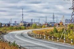 Industrieel stadslandschap Stock Foto's