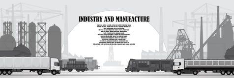 Industrieel stedelijk landschap van industriële infrastructuur royalty-vrije illustratie