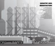 Industrieel stedelijk landschap van manufactories en infrastructuur stock illustratie