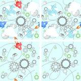 Industrieel vastgesteld patroon op wit Stock Afbeeldingen