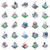 Industriegebäude-isometrische Ikonen stock abbildung