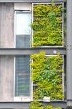 Industriegebäudefeld und -anlage Stockfotos