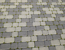 Industriegebäudehintergrund von Pflastersteinen mit überwuchertem mit Moos in den Sprüngen Texturierung des Hintergrundes Stockfotos