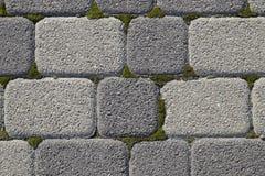 Industriegebäudehintergrund von Pflastersteinen mit überwuchertem mit Moos in den Sprüngen Texturierung des Hintergrundes Lizenzfreies Stockfoto