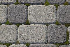 Industriegebäudehintergrund von Pflastersteinen mit überwuchertem mit Moos in den Sprüngen Texturierung des Hintergrundes Lizenzfreie Stockfotografie
