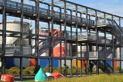Industriegebiet umgewandelt in Freizeitpark Stockbilder