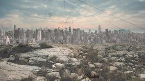 Industrieglobalisierungseffekte auf Stadt und Natur lizenzfreie abbildung