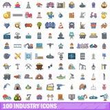100 Industrieikonen eingestellt, Karikaturart Lizenzfreie Stockbilder