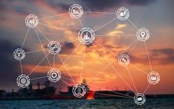 Industrieikonenmuster auf Frachtdockhintergrund stockbilder