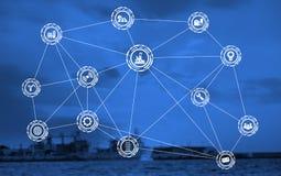 Industrieikonenmuster auf Frachtdockhintergrund stockbild