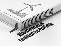 Industriekonzept: buchen Sie Windmühle, Elektronik-Herstellung auf weißem Hintergrund lizenzfreie abbildung