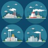 Industrielandschaftssatz Das Atomkraftwerk und die Fabrik an Lizenzfreie Stockbilder