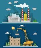 Industrielandschaftssatz Das Atomkraftwerk und die Fabrik Stockbild