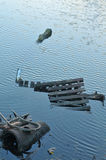 Industriell avfalls i sjön Fotografering för Bildbyråer
