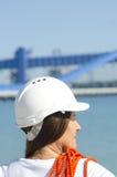 Industriell bakgrund för kvinnligarbetare arkivbild