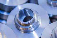 Industriell bakgrund från metalliska delar för cirkel Arkivfoton