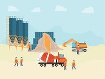 Industriell cementbearbetningsanläggning med manarbetaren Arkivbild