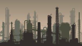 Industriell del för horisontalbrun illustration av staden Arkivbilder
