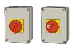 Industriell elektrisk roterande strömbrytare, av och på Arkivfoto