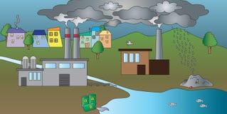 Industriell förorening av vatten stock illustrationer