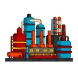 Industriell fabrik eller växt med rör stock illustrationer