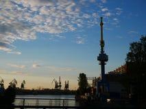 Industriell hamn för handelport Arkivfoto